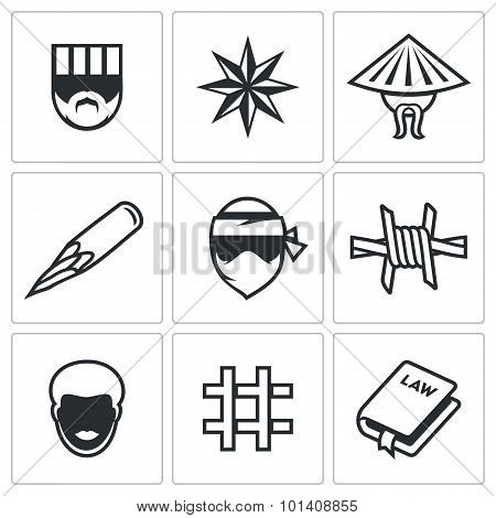 Criminal Racial Groups In Prison Icons Set. Vector Illustration.