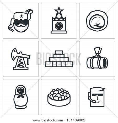 Russian, Food, Attraction, Industry Icons Set. Vector Illustration.