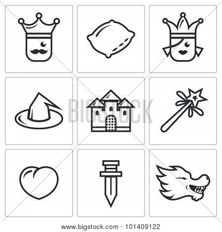 Sleeping Beauty, Tale About A Kingdom And Magic Icons Set. Vector Illustration.