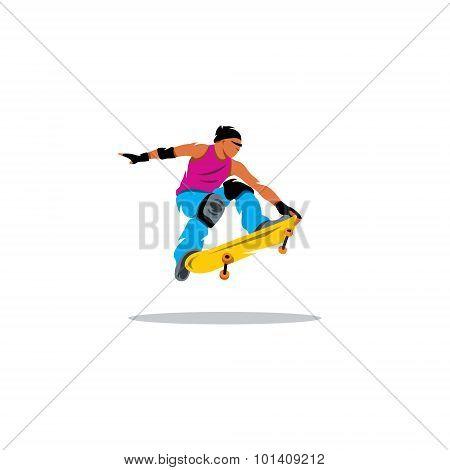 Skateboarder Man Jumping Sign. Vector Illustration.