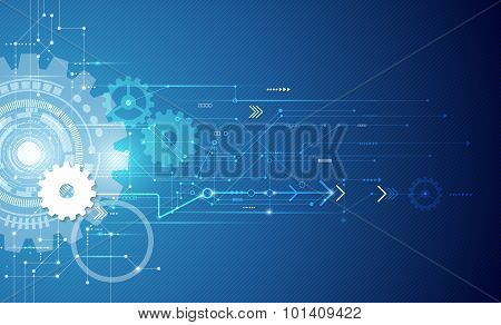 Vector illustration white gear wheel on circuit board