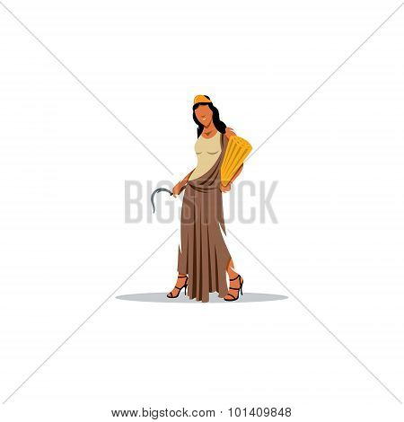 Demeter sign. Mythological Greek goddess of fertility and agriculture. Vector Illustration. Design template Isolated on a white background