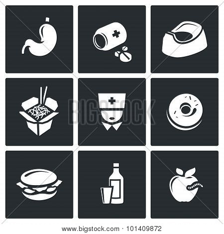Food poisoning icons set. Vector Illustration.  Isolated Flat Icons collection on a black background for design