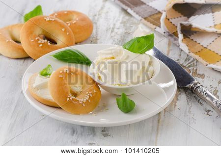 Fresh Bagel With Cream Cheese For A Breakfast.