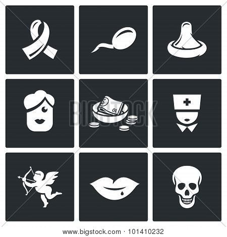 Aids And Hiv Infection Icons. Vector Illustration.