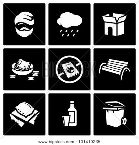 Homeless Icons Set. Vector Illustration.