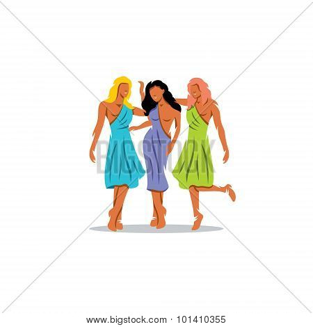 Three Nymphs. The Living Natural Forces, Spirits Of The Earths Surface. Vector Illustration.