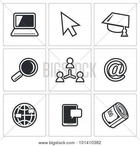 Computer Literacy Icons Set. Vector Illustration.