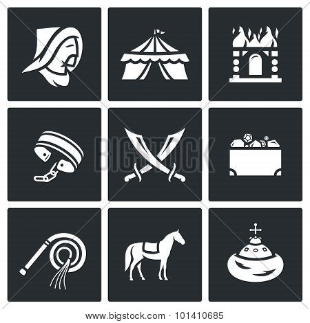Mongol-tatar Yoke Icons Set. Vector Illustration.