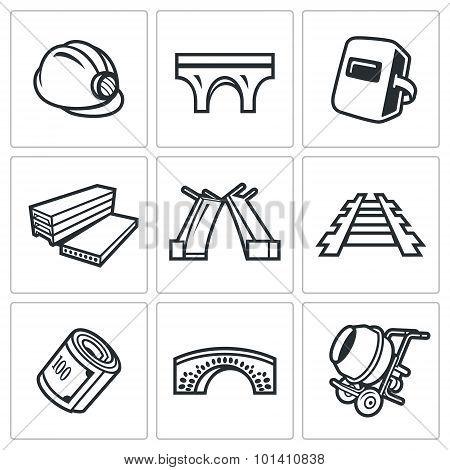Bridge Construction Icons Set. Vector Illustration.