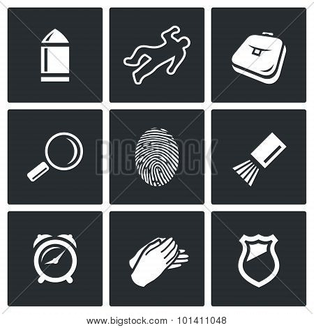 Criminalistics. Search Criminal Icons Set. Vector Illustration.