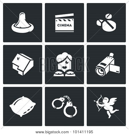 Erotic Movies Icons Set. Vector Illustration.
