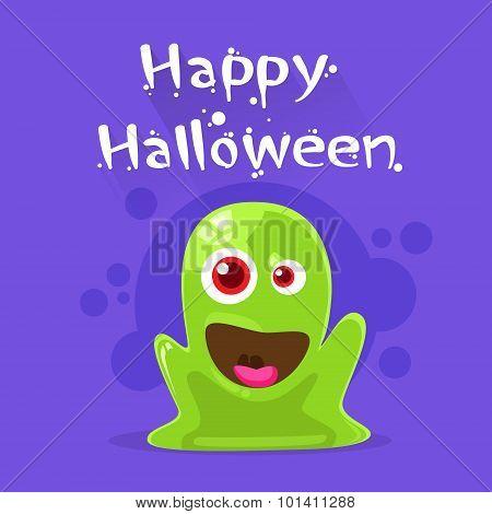 Jelly Monster Green Alien Character Flat Vector