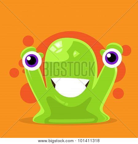 Jelly Monster Green Alien Character Hold Eyes