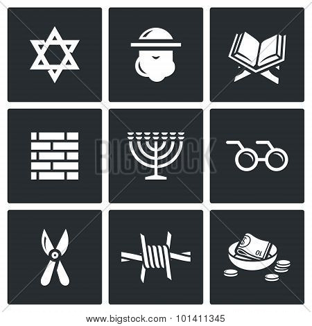 Israel Icons Set. Vector Illustration.