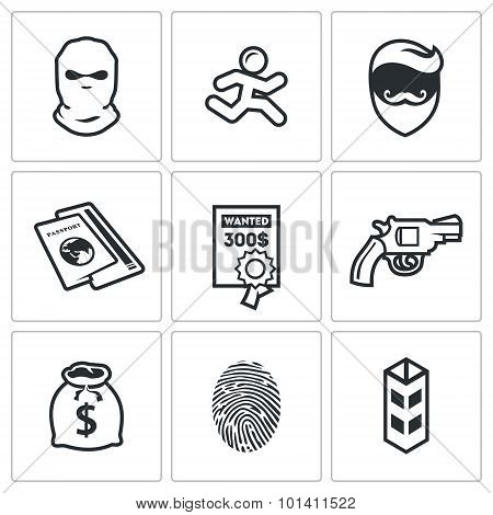 Criminal On The Run And Wanted Icons Set. Vector Illustration.