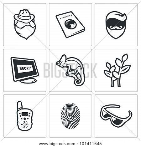 Masking Of Humans And Animals Icons Set. Vector Illustration.