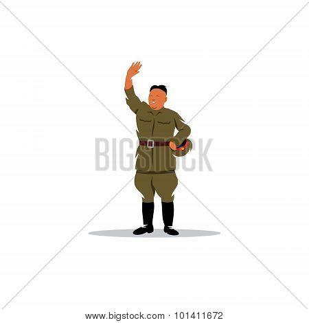 North Korean Soldier In Uniform Sign. Vector Illustration.