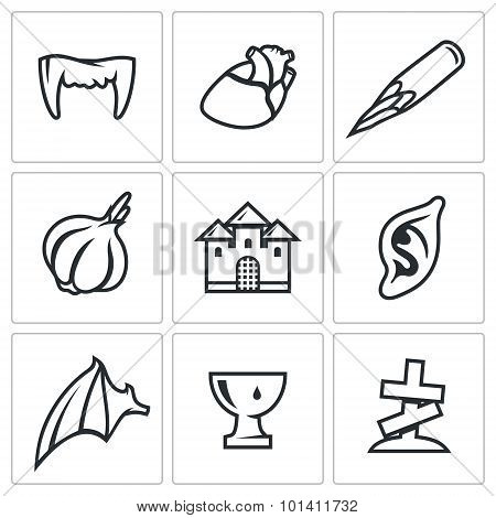 Vampires And Means Against Them Icons Set. Vector Illustration.