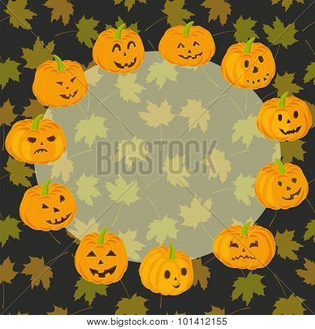 Pumpkin Halloween Scary Face Orange Circle with Copy Space