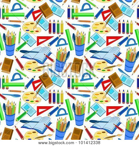Education Tools Supplies Seamless Pattern Concept Study