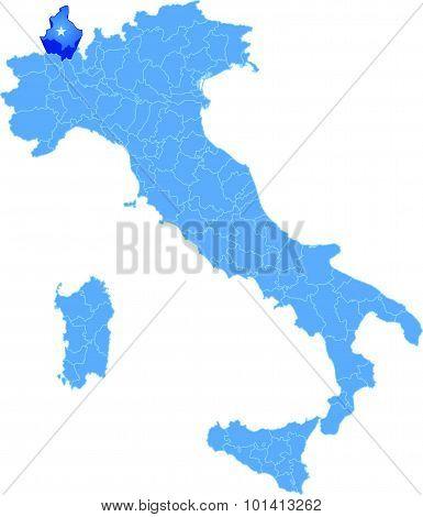 Map Of Italy, Verbano-cusio-ossola