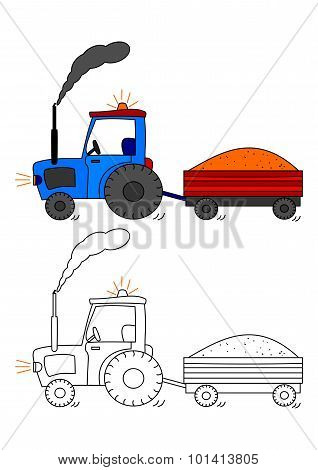 Tractor With Siding - Coloring Book For Kids