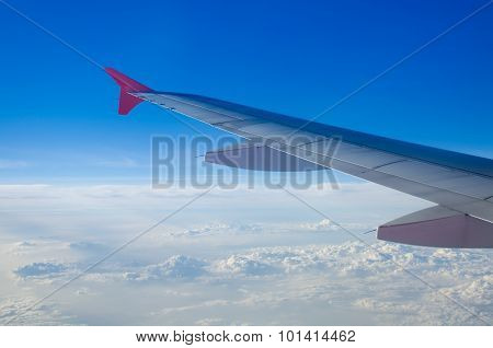 Airplane Wing And Sky