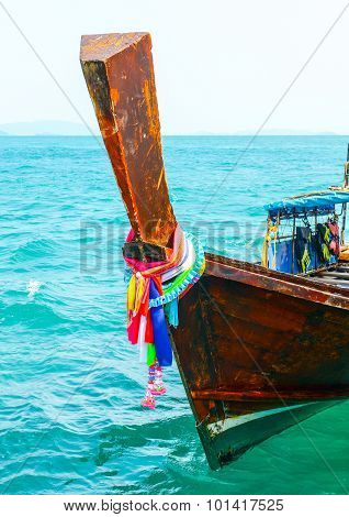 Longtail Boat On The Sea Tropical Beach. Andaman Sea