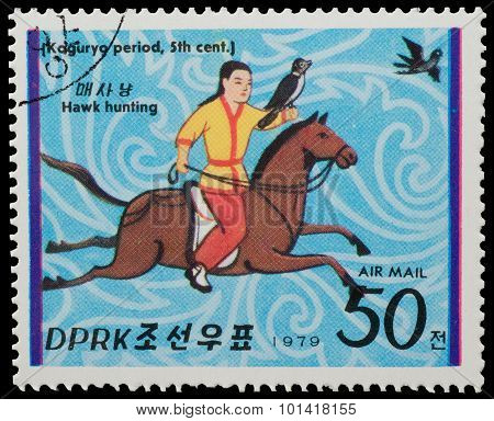 North Korea - Circa 1979: A Stamp Printed In North Korea, Shows Hawk Hunting From The Series