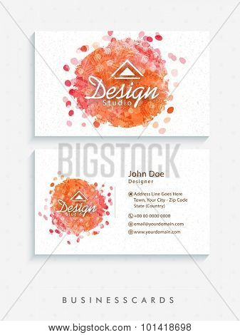 Abstract horizontal business card or visiting card set with front and back side presentation.