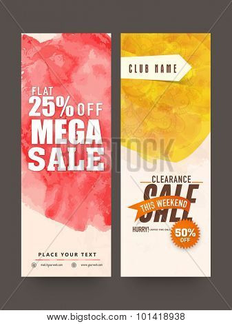 Stylish Mega Sale website banners set with 25% flat discount offer.