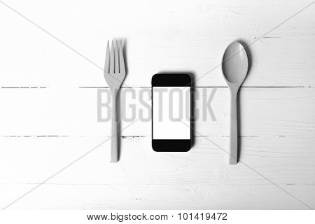 Spoon And Smartphone Concept Eating Social Black And White Tone Color Style