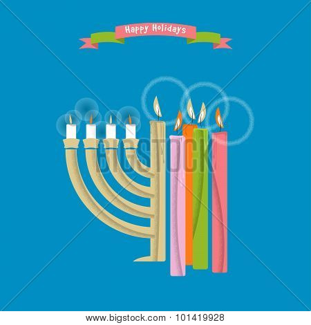 Happy Holidays. Cards With Christmas And Hanukkah Candles.