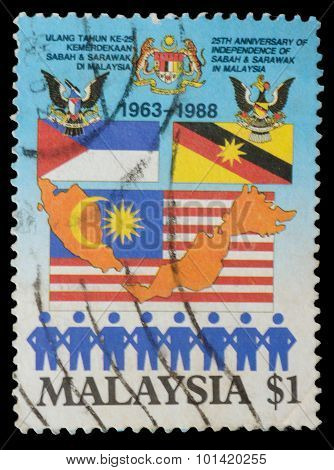 Malaysia - Circa 1988:a Stamp Printed In Malaysia Shows 25Th Anniversary Of Independence Of Sabah In
