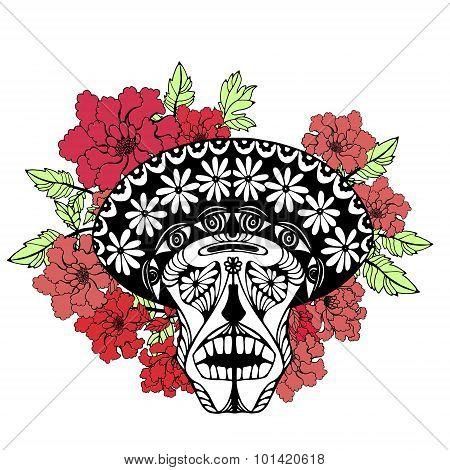 Skull with flowers. Flowers skull.
