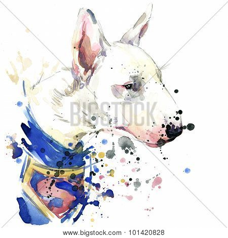 Bull Terrier dog Superman T-shirt graphics. dog  illustration with splash watercolor textured  backg
