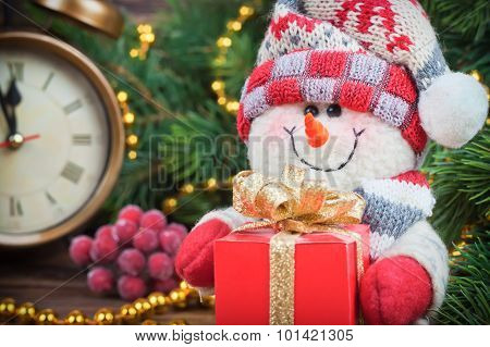 Christmas And New Year Snowman