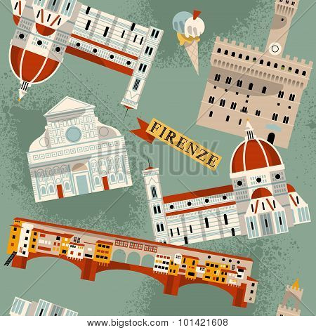 Sights Of Florence. Italy, Europe. Seamless Background Pattern.