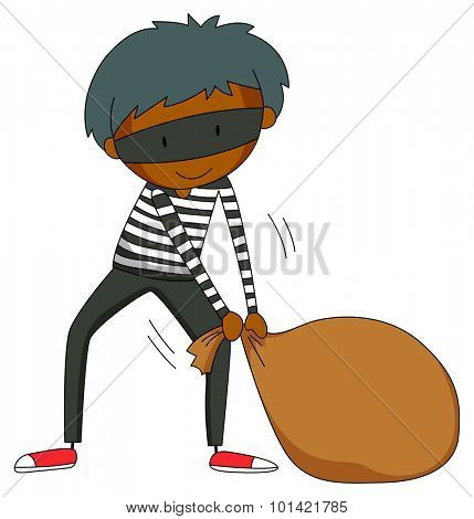Robber dragging brown bag illustration
