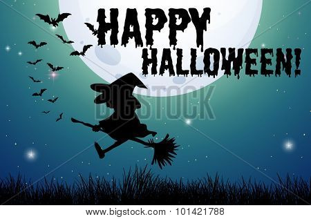 Happy halloween sign with witch on broom illustration