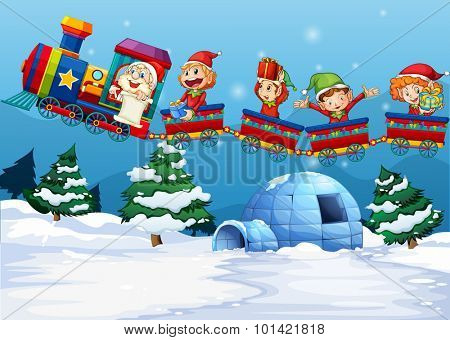 Santa and elf riding on train  illustration