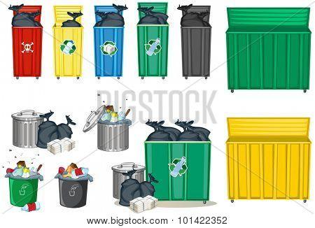 Different size of trashcan illustration