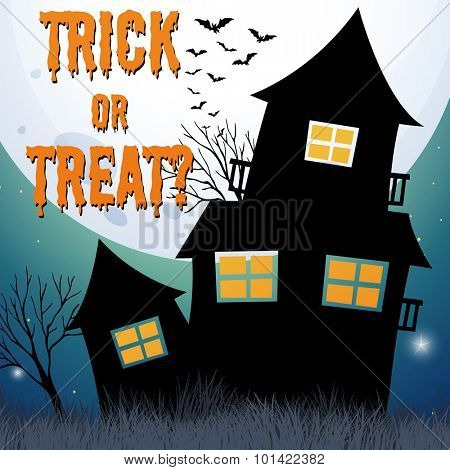 Halloween theme with haunted house illustration