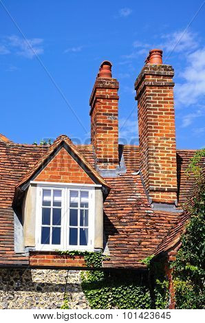 Cottage dormer and chimneys, Turville.