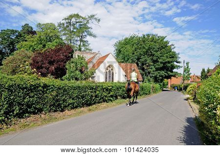 Horse riding in Turville.