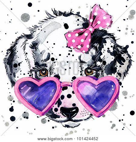 Dalmatian puppy dog T-shirt graphics. puppy dog illustration with splash watercolor textured  backgr