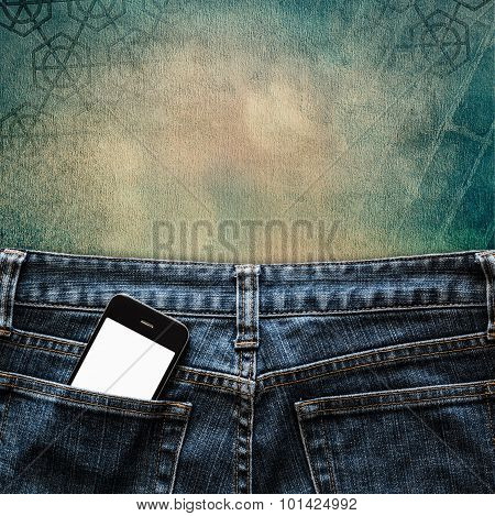 Blue Jeans With Cell Phone In Pocket Background