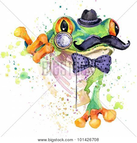Funny frog T-shirt graphics. frog illustration with splash watercolor textured background.
