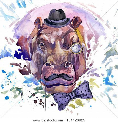 hippopotamus T-shirt graphics. hippopotamus illustration with splash watercolor textured background.